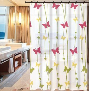 Beautiful Butterfly Design Pe Fancy Shower Curtains Accordion Curtain Waterproof Bath