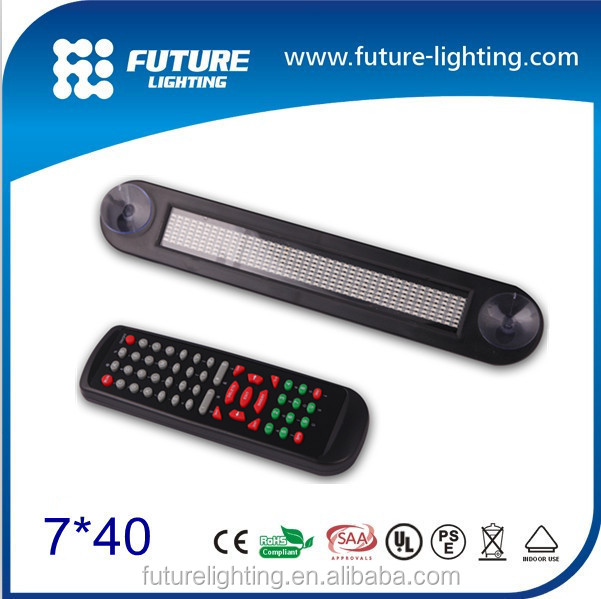 Indoor car rear window digital led display 12V 7*40 led car moving <strong>sign</strong>