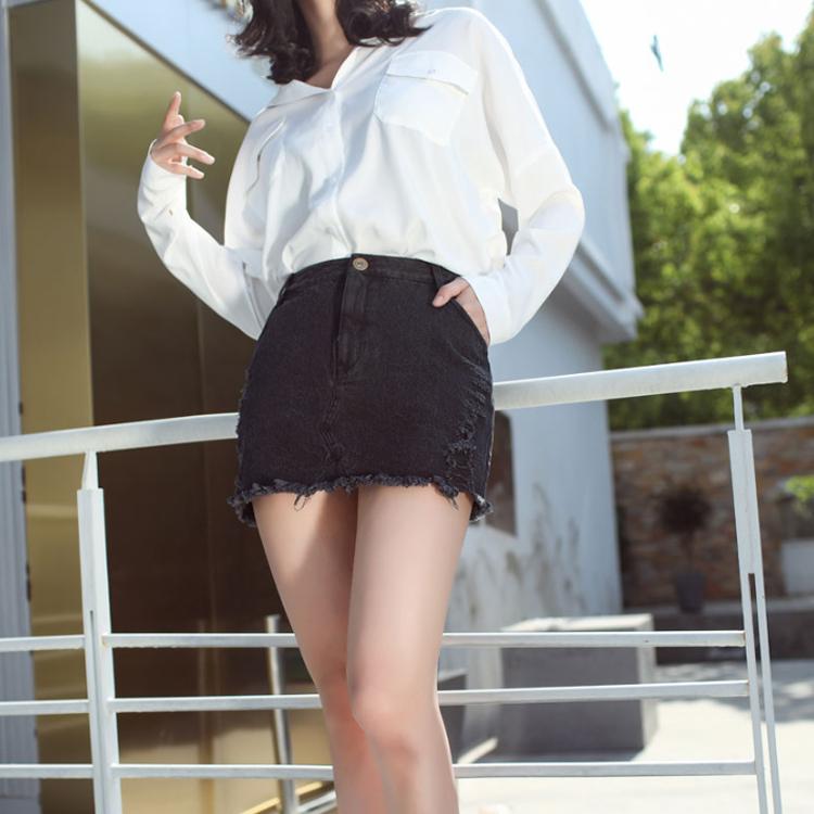 最新のジーンズホット女性のショートスカート黒デニムボトムタイトな肌 sexty 女性のスカート