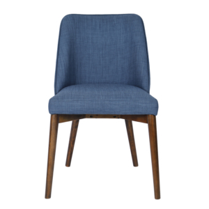 Home Furniture Casuals Dark Navy Fabric Wooden Legs Designer Dining Chair