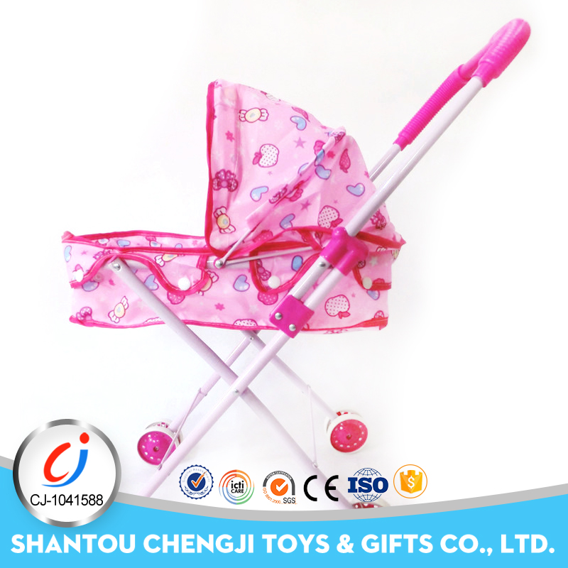 Hot popular kids iron crat toy pretend cheap baby stroller for doll
