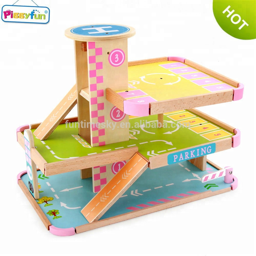 2018 Wholesale Wooden Parking Lot Toy for <strong>Kids</strong> AT11158
