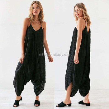 1f36adb8461 Ladies Custom Made Jumpsuit Loose Solid Oversized Crinkle Romper Jumpsuits  For Women 2017 Sexy