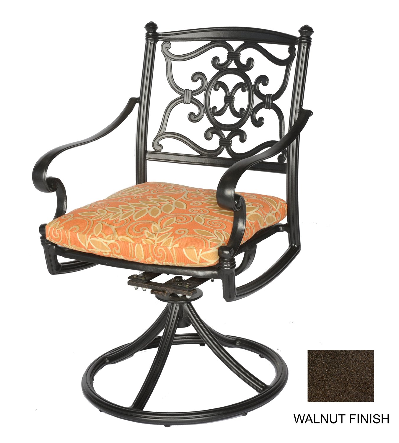 Meadow Decor 2623-58 Kingston Patio Swivel Rocker Chair, Walnut