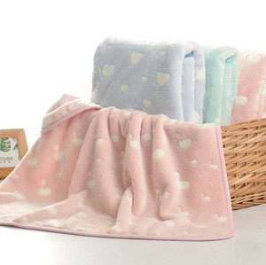 100% cotton knitted custom soft baby throw fleece organic blanket