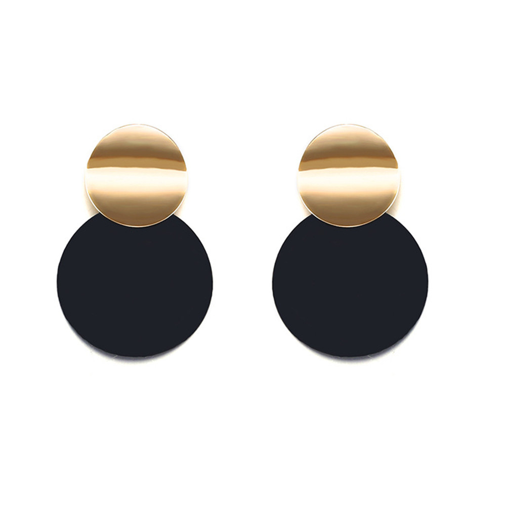 Unique Black Stud Earrings , Trendy Gold Color Round Metal Statement Earrings for Women Fashion Jewelry