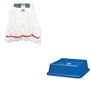 KITRCP2791BLURCPA21206WHI - Value Kit - Rubbermaid 2791 Untouchable Bottle and Can Recycling Top for 3958-06, 3959-06 Containers (RCP2791BLU) and Rubbermaid Web Foot Shrinkless Looped-End Wet Mop Head (RCPA21206WHI)