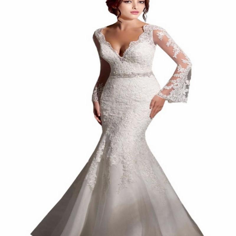 048753b7b4 Get Quotations · Hot Sale Mermaid V Neck Long Sleeve Wedding Dress Beading  Crystal Sashes Backless Appliques Sweep Train