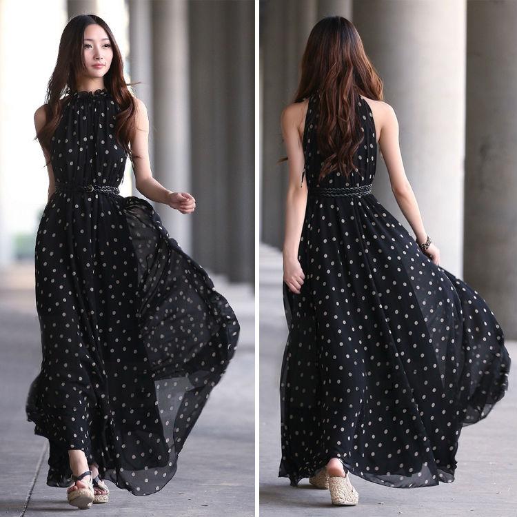 0011c5e1e8ab Women Loose Sexy Chiffon Polka Dots Maxi Long Beach Party Evening Dress  Black