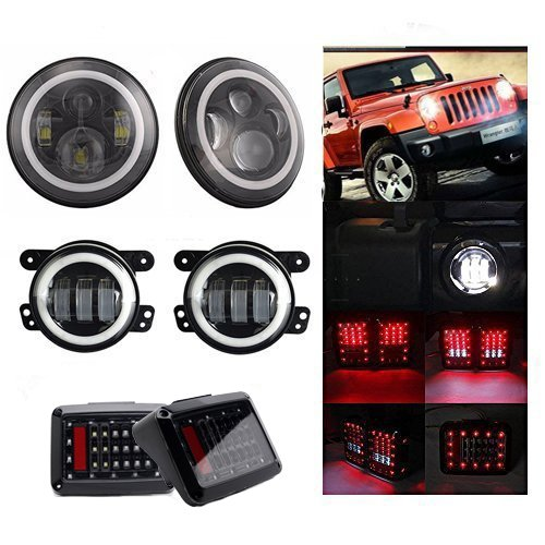 AOSI Pair CREE 7Inch Round Led Headlight Halo Angel Eye DRL Amber Turn Signal 60W + 4 Inch 30W White Halo Jeep Wrangler Jk Fog Headlight + Tail Lights for 2007-2015 Jeep Wrangler Jk