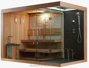 Steam shower with traditional sauna for upper market home design FS-1388