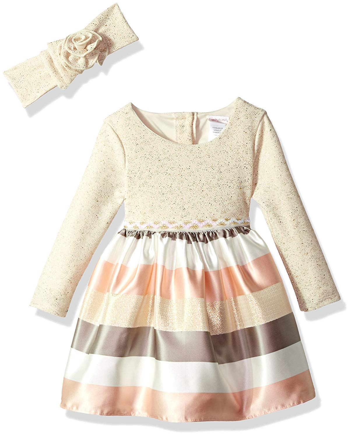 2e2fb4e1f Get Quotations · Youngland Toddler Girls' Sparkle Knit To Stripe Party Dress  With Matching Headband