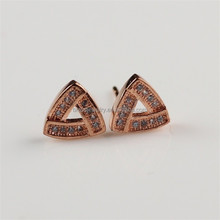 Hot Sale Triangle Shape Fashion Rose Gold Plated Crystal Stud Earring