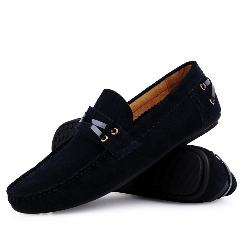 New 2015 classic car styling colorful slip-on genuine suede leather shoes men loafers casual flats for driving size:6-10 ox419