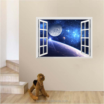 bf43444ae1c2 3D customize Outer Space Planet Wall Stickers fake window night glow wall  decor sticker room decor