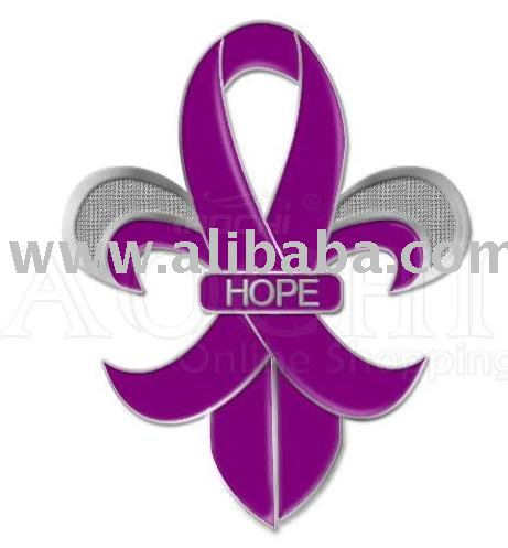 Fleur-de-lis Pancreatic Cancer Awareness Purple Ribbon