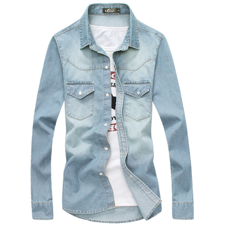 a438dbfaabf Brand Denim Shirts 2015 Fashion Mens Slim Fit Long Sleeve Jean Shirts  Autumn Casual Blue Men Shirt Chemise Homme Camisa Social