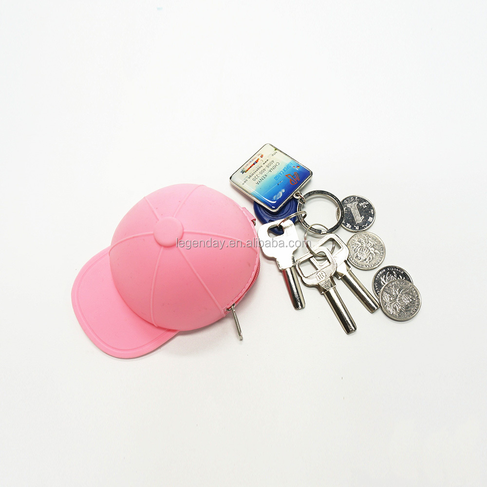 Girls Party Handy bag Baseball Cap Shaped Silicone Purse Coin Jelly Wallet