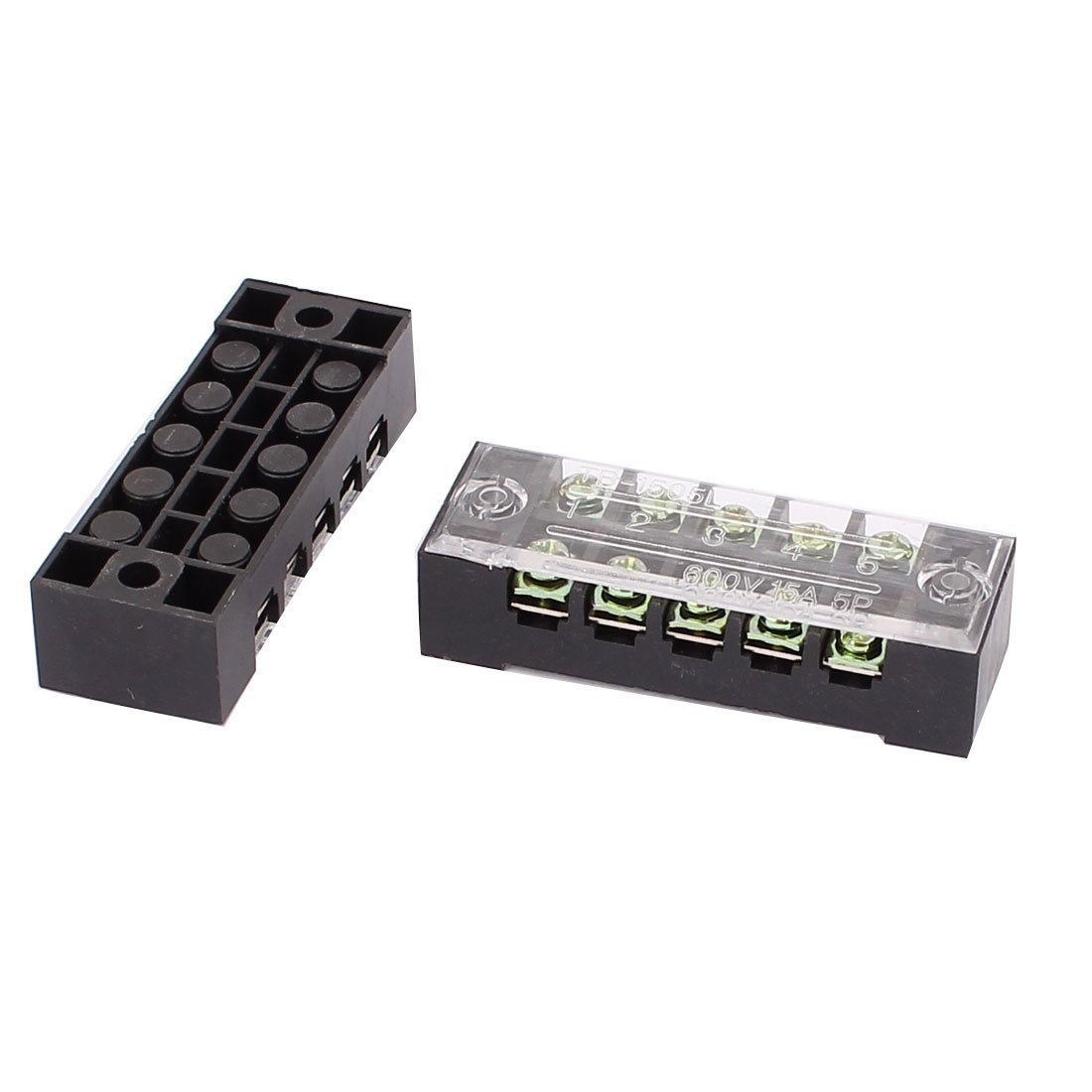 Aexit 2 Pcs 600V 15A 5P Dual Row Barrier Terminal Block Wire Connector Bar