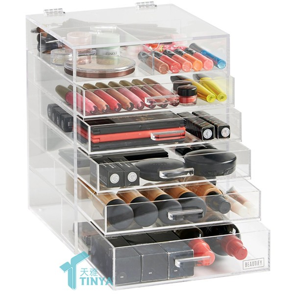Clear Makeup Kosmetisk Stativ Display Rack, Lucite Billige Makeup Organizer, Engros Akryl Makeup Display Organizer Med 6 Skuffer