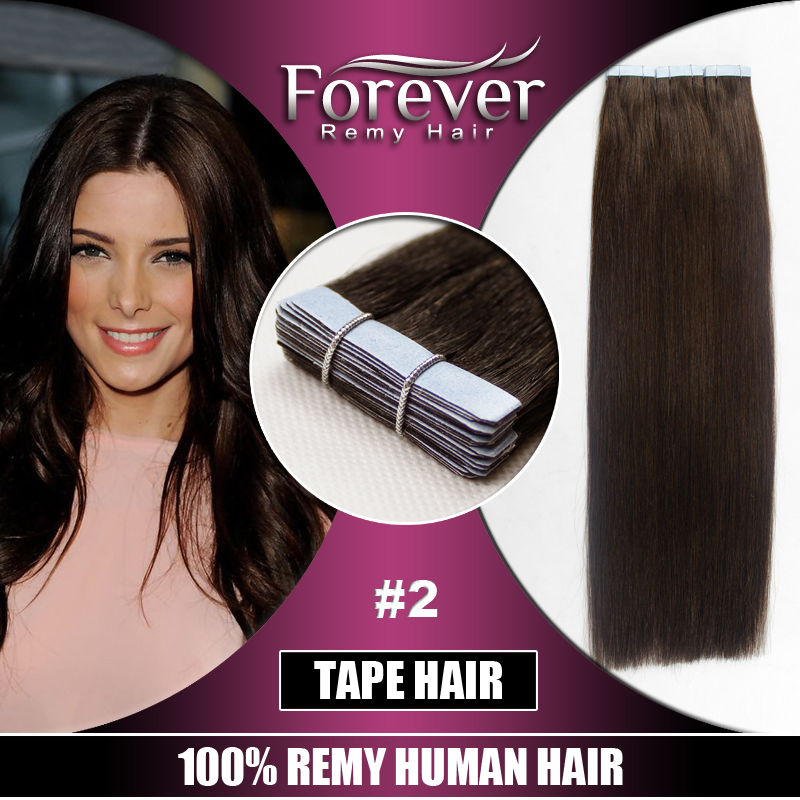 Forever 100 indian remy human hair hand tied seamless pu skin weft hair extensions for sale