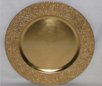 gold plated plastic charger plate round dinner plate