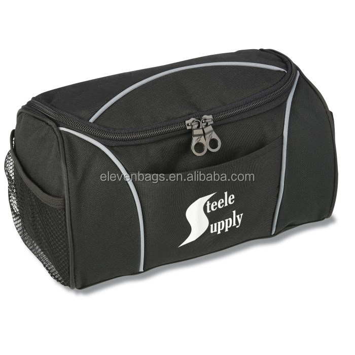 Handsome 600-denier black polyester travel case custom hanging toiletry bag