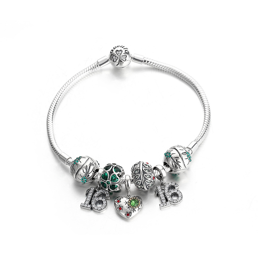 2015 Spring Collection Green Style Silver Latest Charm Leather Bracelet B0007