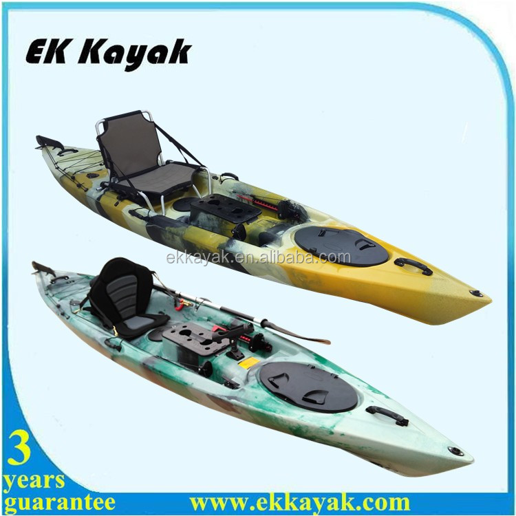 Cheap plastic sea fishing kayak with aluminium chair seat for Fishing kayak with foot pedals
