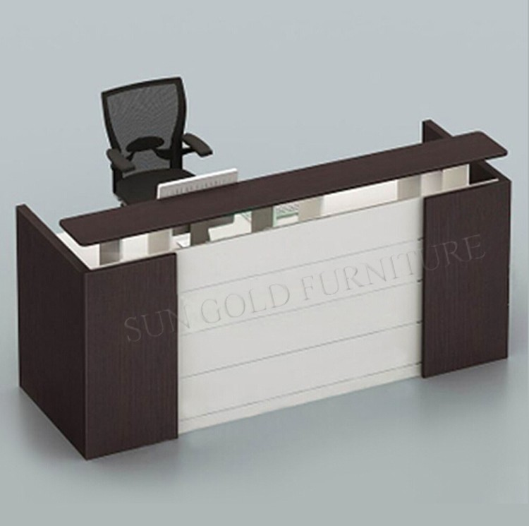 Black Wooden Used Reception Counters Modern Front Desk Design (SZ RTB006 2)