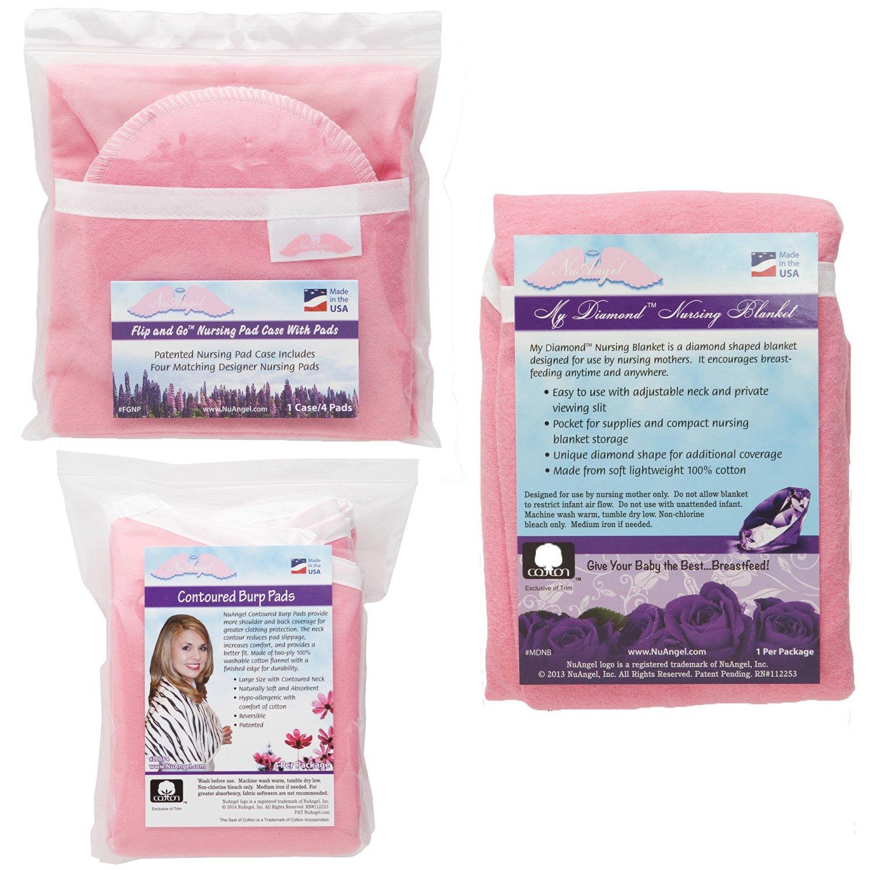 NuAngel Flip and Go Nursing Pad Case with Nursing Blanket and Contoured Burp Pad Set, Pink