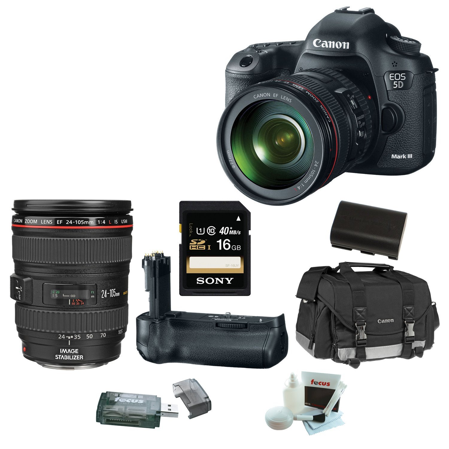 Canon EOS 5D Mark III 22.3 MP Full Frame CMOS Digital SLR Camera with EF 24-105mm f/4 L IS USM Lens + Canon BG-E11 Battery Grip + Canon Gadget Bag + 16GB Accessory Kit