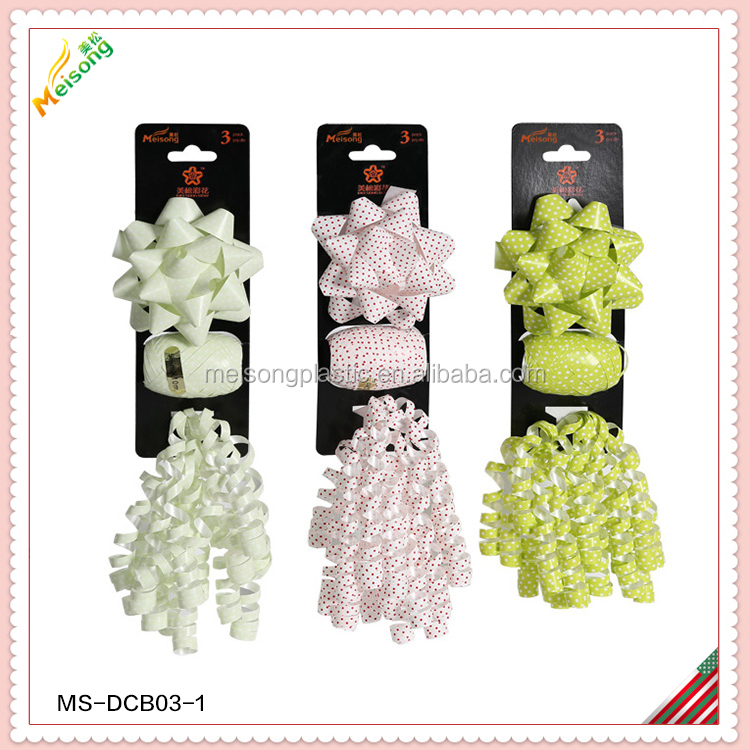 Printing and solid ribbon bow set decoration ribbon bow set
