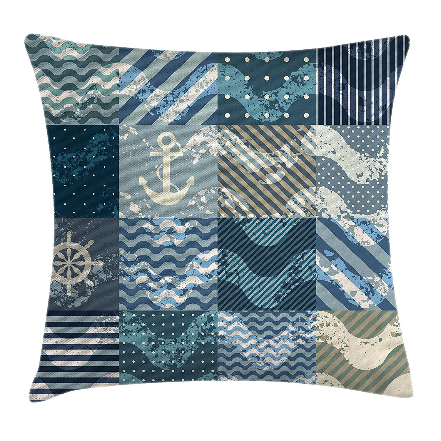 Ambesonne Nautical Decor Throw Pillow Cushion Cover, Marine Wave Patterns in Patchwork Style Boxes Squares Navy Striped Print, Decorative Square Accent Pillow Case, 24 X 24 Inches, Blue Beige