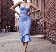 Женское облегающее платье на бретельках с рисунком оленя, голубое облегающее платье с оборками, Клубные вечерние платья 2020(Китай)
