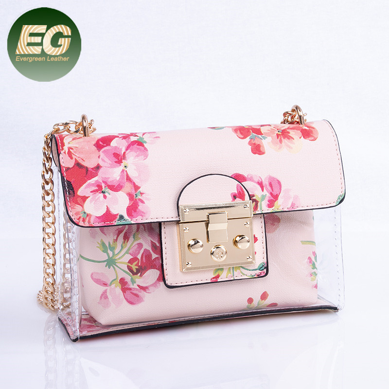 2018 New Stylish Clear PVC flower tote bag shoulder <strong>Handbag</strong> for women SH474