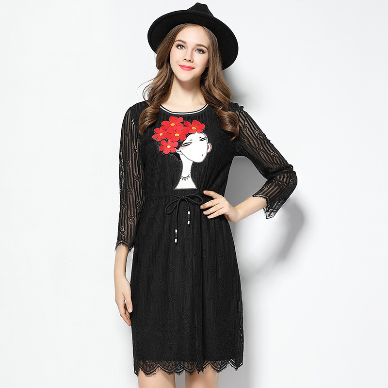 SN3211 wholesale custom design tie waist long lace sleeve casual black dress for women