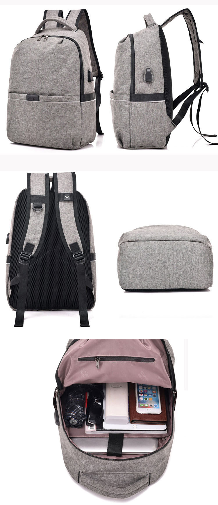 Manufacturers wholesale custom plain ultra light foldable nylon waterproof usb charging university college bag girl backpack