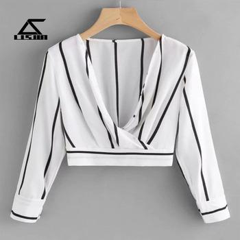 eab46977cc9 Professional fashion custom clothing stripe printed women blouses plus size  2018