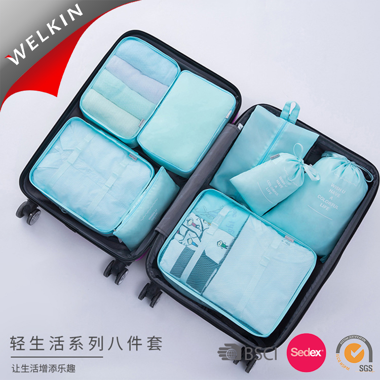 Nylon Packing Cubes, Bagasi Travel Packing Penyelenggara dengan Tas Laundry