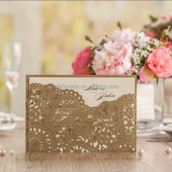 personalize gold laser cut wedding invitation card envelope inner