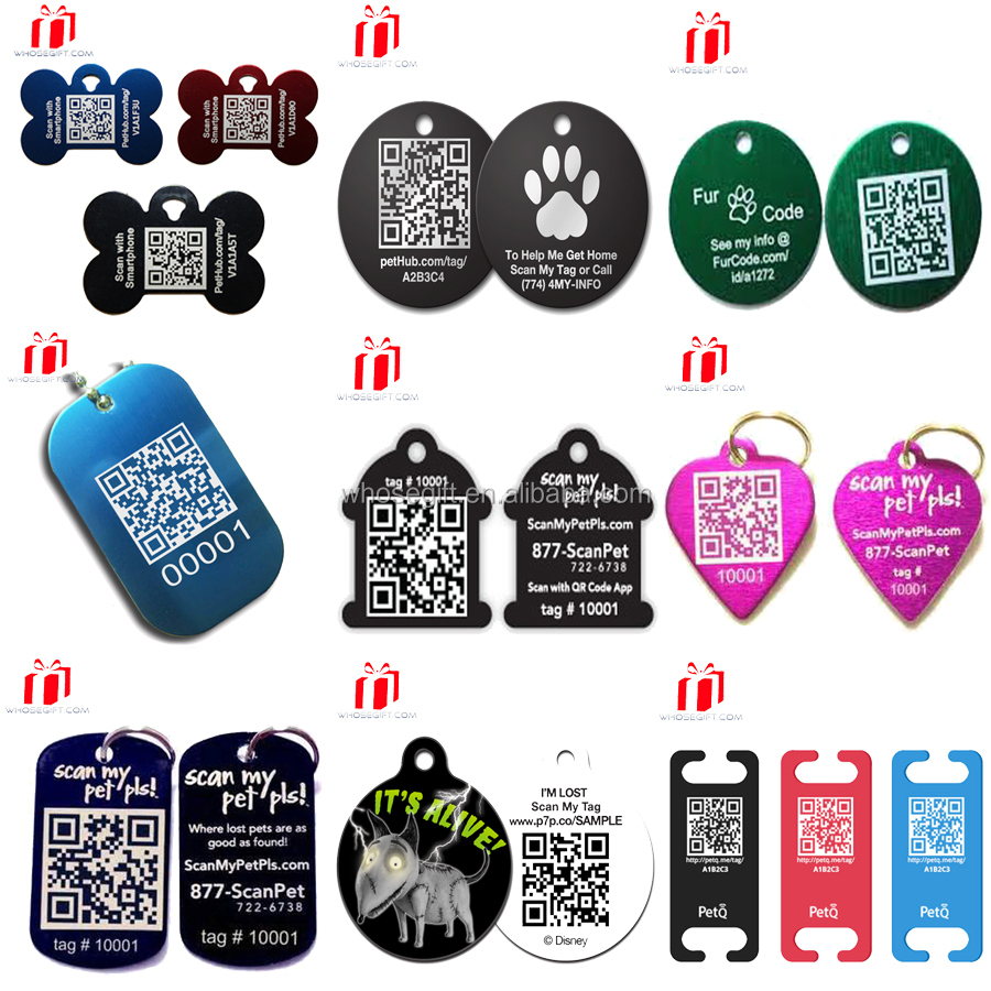 Custom logo silicone custom qr code pet id tags for dog for Qr code dog tag
