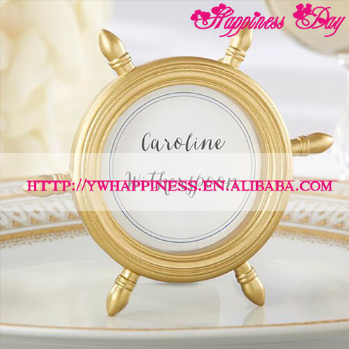 Gold Resin Ship Wheel Photo Frame Place Card Holder Wedding Decoration Favors Nautical Theme Party Gifts