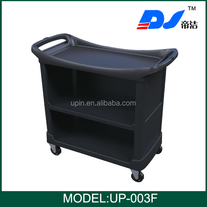 Plastic hand push restaurant hotel trolley room service for Hotel room service cart