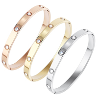 2019 Ladies Crystal Stone Cuff Stainless Steel Engraved Love Screw Bracelet Bangle
