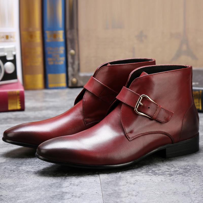 b8966ee24 Nuevo diseño italiano cuero genuino punta toe hebilla Correa hombres chukka  botas
