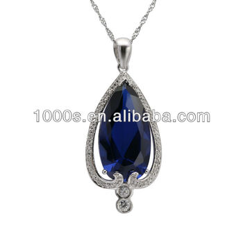 Big blue sapphire stone pendant buy single big stone pendantdark big blue sapphire stone pendant aloadofball Image collections