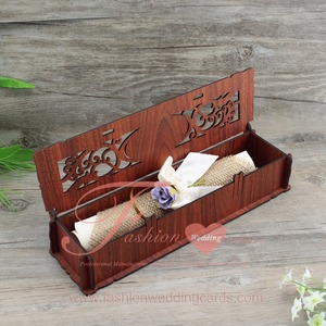 High Quality Rectangle Wedding Invitation Wooden Box For Scroll