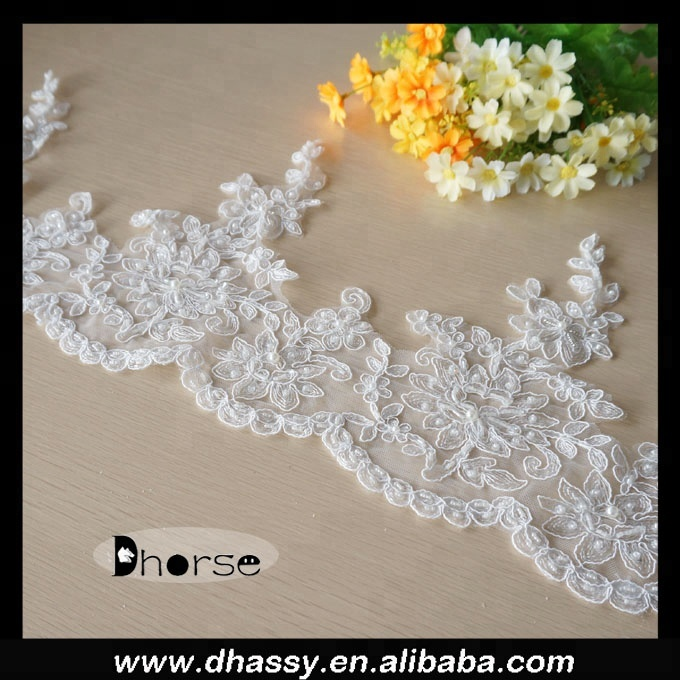 New fashion ivory corded lace trim/pearl beaded lace trim/beaded bridal lace trim