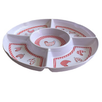 custom print 5 section compartment melamine divided tray plate